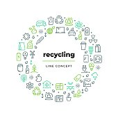 Waste recycle line concept. Zero waste environment plastic garbage reuse bio organic food trash. Ecology lifestyle recycling vector circle