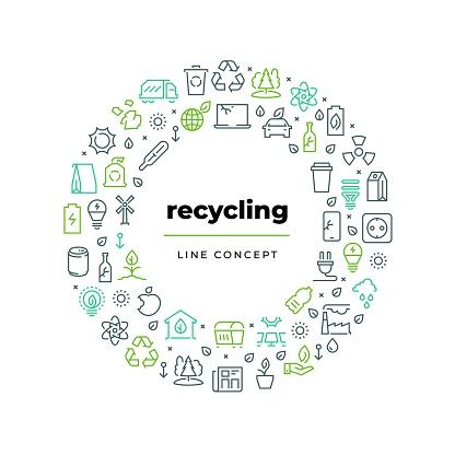 1812m30i020n019fc06493313134 Waste Recycle Line Concept Zero Waste Environment Plastic Garbage Reuse Bio Organic Food Trash Ecology Recycling Vector Circle - Immagini vettoriali stock e altre immagini di Accarezzare