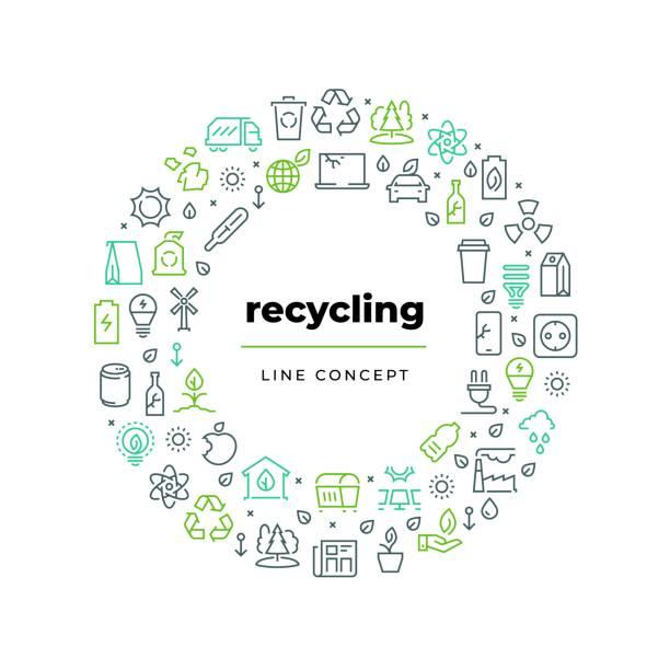1812.m30.i020.n019.f.c06.493313134 konzept der abfallverwertung. null abfall umwelt plastikmüll wiederverwenden bio-bio-lebensmittel müll. ökologie-recyclingvektorkreis - recycling stock-grafiken, -clipart, -cartoons und -symbole