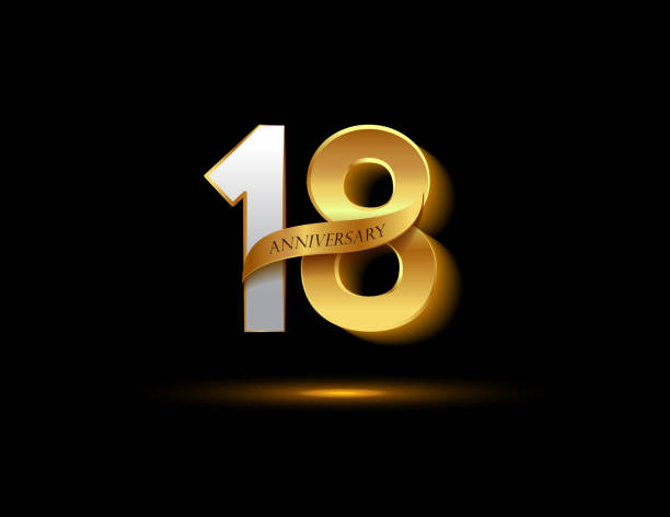 18th anniversary glowing logotype with ribbon golden colored isolated on dark background, vector design for greeting card and invitation card. vector art illustration