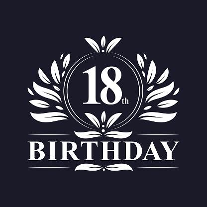 18th Birthday logo, 18 years Birthday celebration.