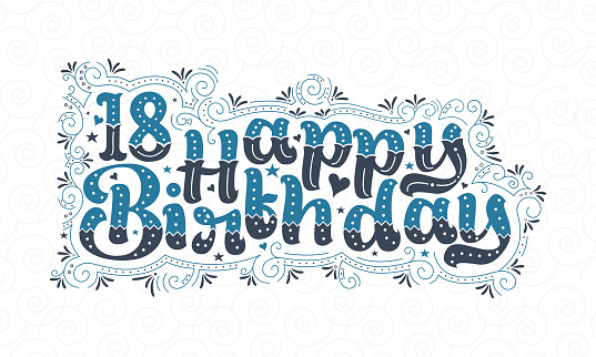 18th Happy Birthday lettering, 18 years Birthday beautiful typography design with blue and black dots, lines, and leaves.