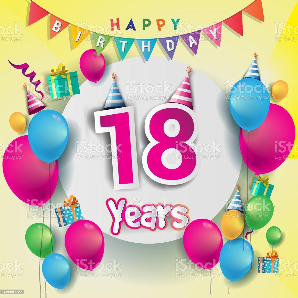 födelsedagskort 18 år 18 E år Anniversary Celebration Födelsedagskort Eller  födelsedagskort 18 år
