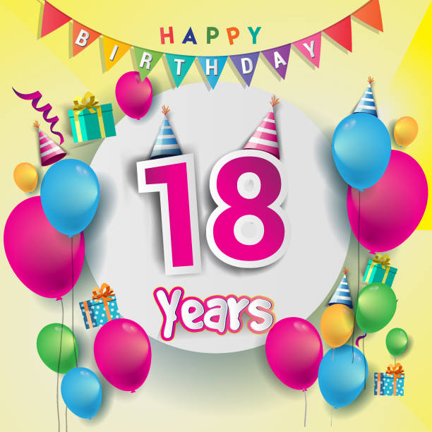 Royalty Free Happy 18 Birthday Background Clip Art, Vector