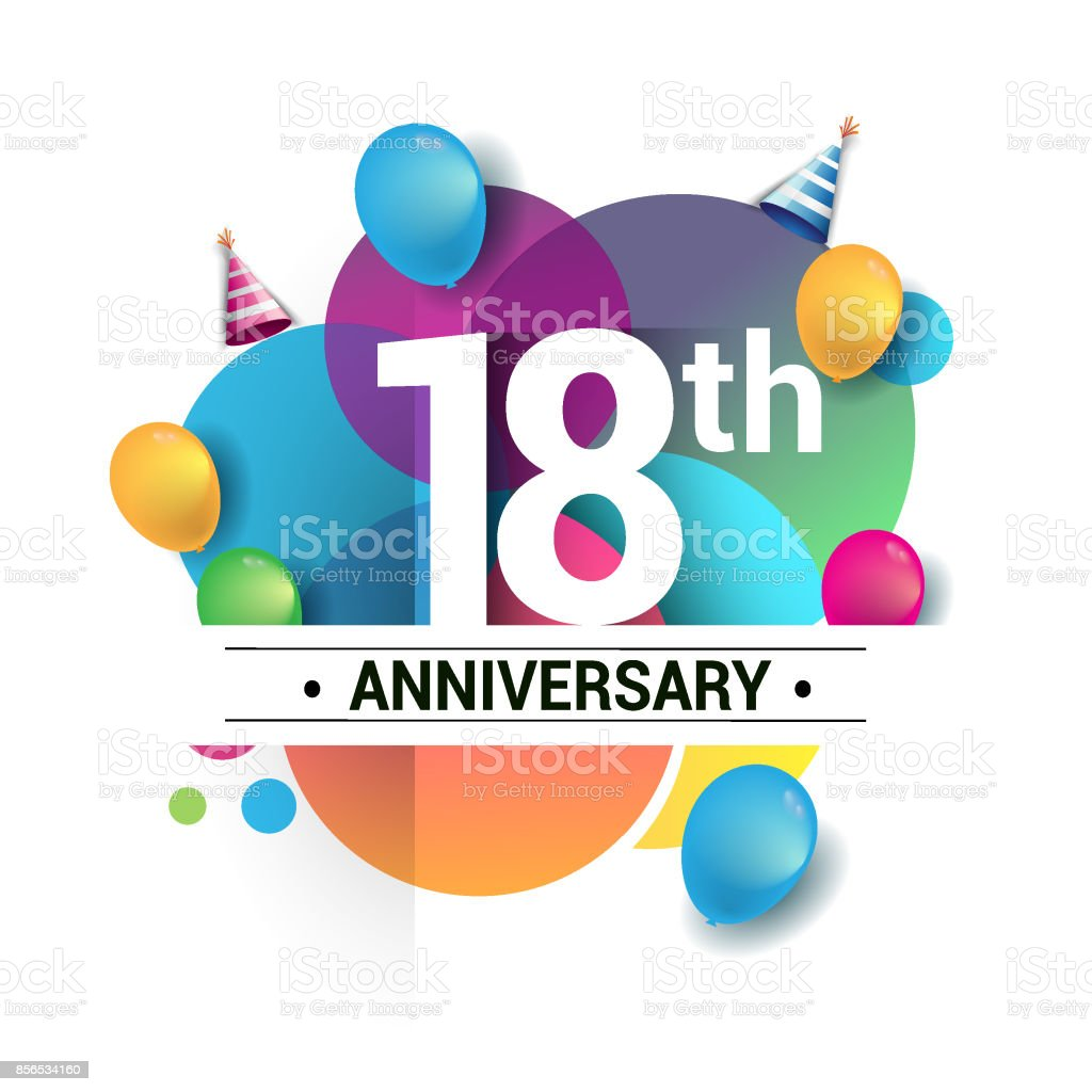 18th years anniversary logo, vector design birthday celebration with colorful geometric, Circles and balloons isolated on white background. vector art illustration