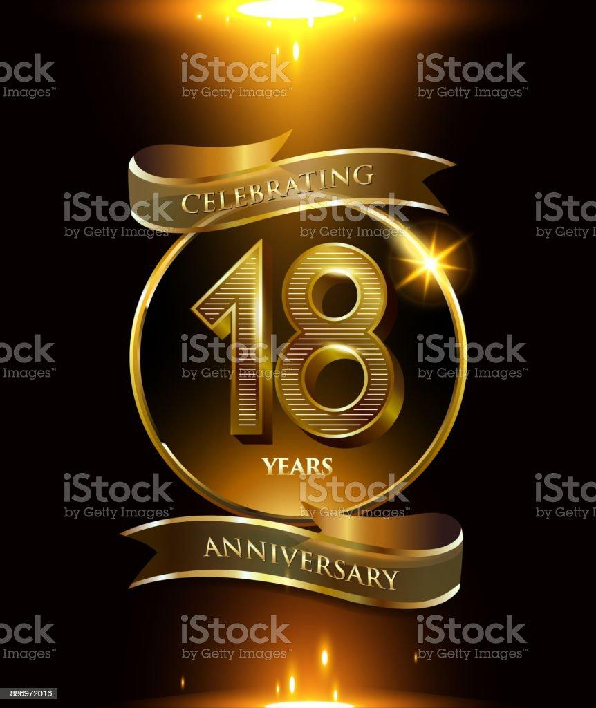 Ilustración De 18 Años Aniversario Logo Con Anillo De Oro Y