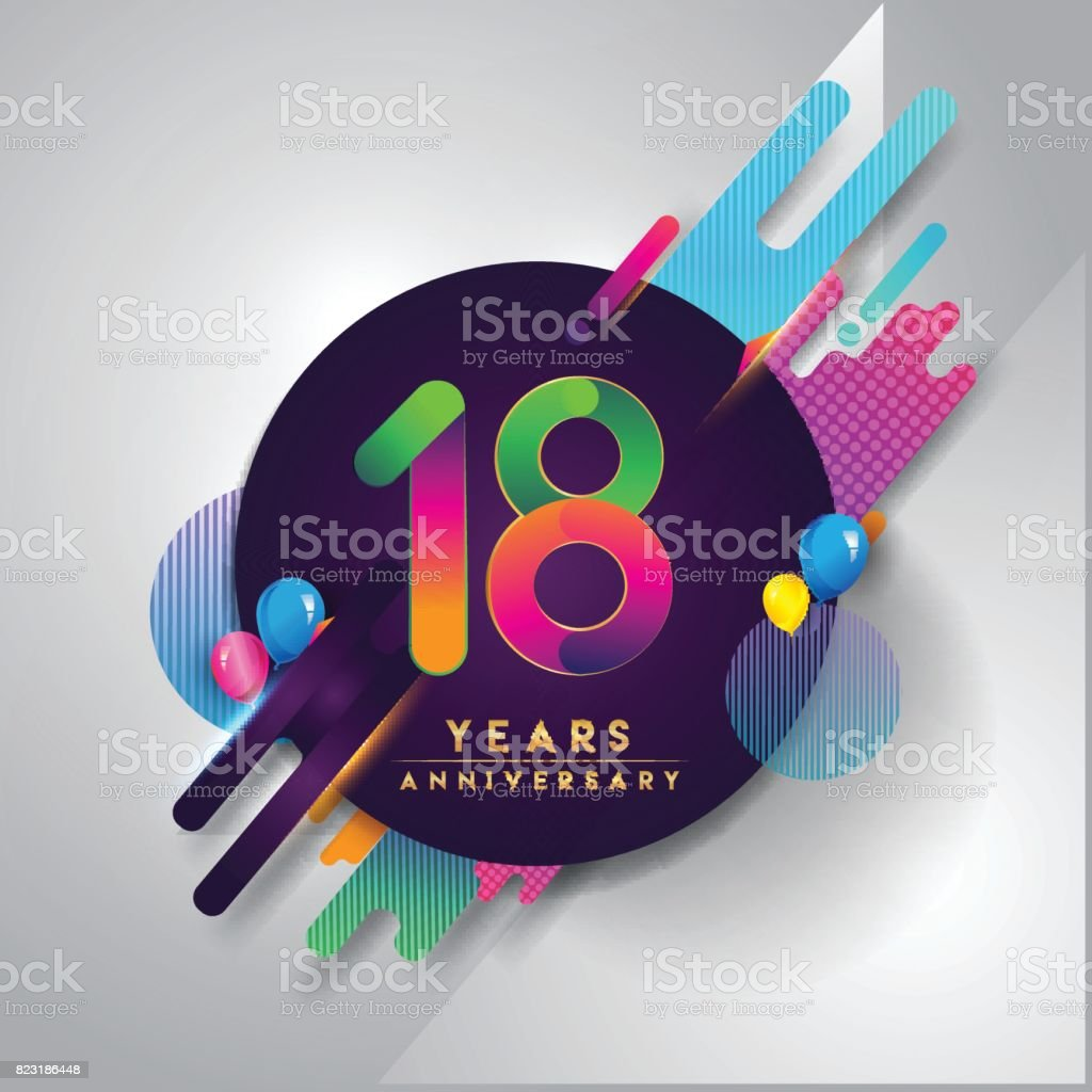18th years Anniversary symbol with colorful abstract background vector art illustration
