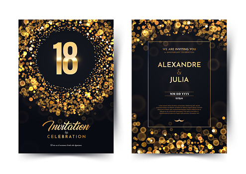 18th years birthday vector black paper luxury invitation double card. Eighteen years wedding anniversary celebration brochure. Template of invitational for print on dark background with bokeh lights