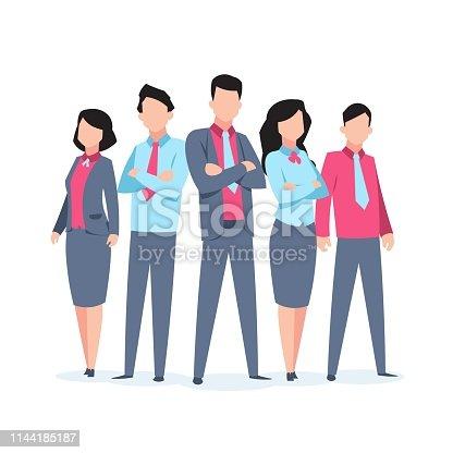 istock 1901.m30.i010.n010.F.c06.1016785900 Business characters team work. Office people corporate employee cartoon teamwork communication. Flat business team illustration 1144185187