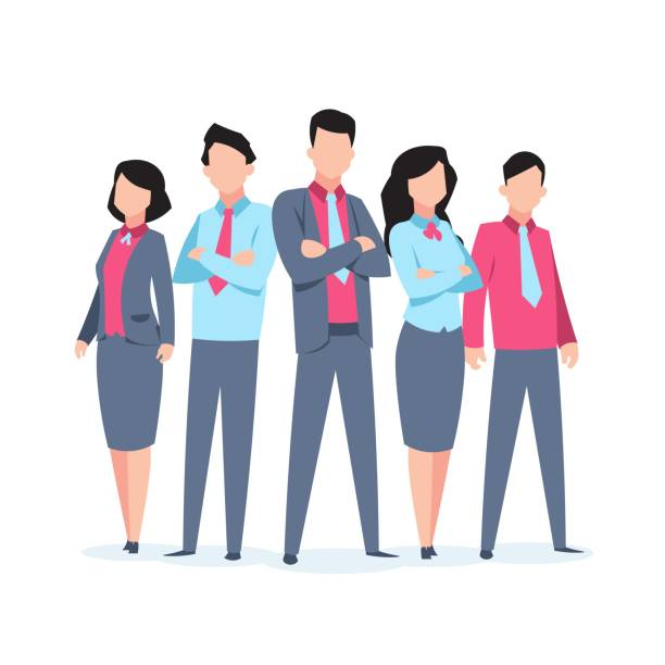 1901.m30.i010.n010.f.c06.1016785900 business characters team work. office people corporate employee cartoon teamwork communication. flat business team illustration - business people stock illustrations