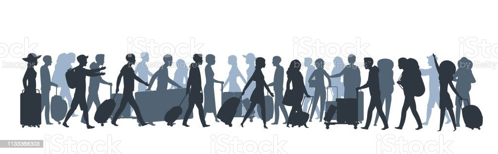 Travel people silhouette. Family tourists shopping with large bags,...