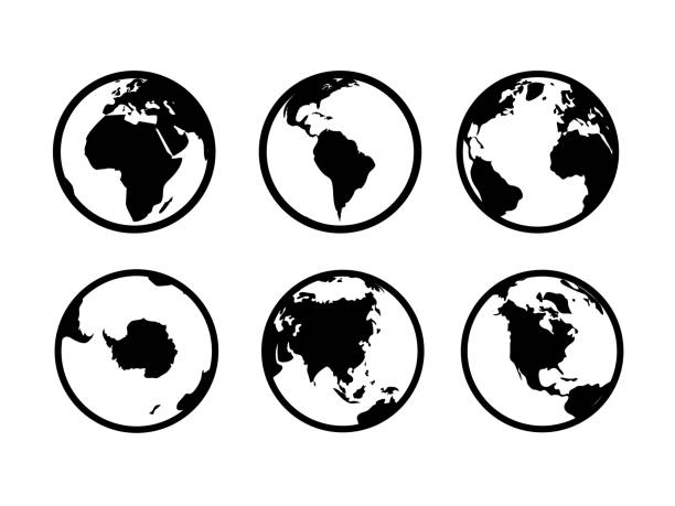 1901.m40.i030.n020.S.c12.144256648 Earth globe icons. World map geography internet global commerce international tourism vector globe symbols Earth globe icons. World circle map geography internet global commerce tourism vector black symbol set on white background continent geographic area stock illustrations