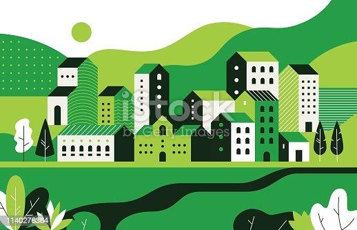 1902. M30. i020. n015. S. c 12.1109911655 paisaje urbano mínimo. Paisaje plano con edificios geométricos y entorno natural, patrón de calle de la ciudad. Los edificios de geometría vectorial