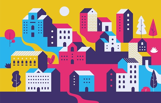 1902.m30.i020.n016.S.c12.1114910576 Minimal cityscape. Flat town houses with eco nature environment, modern geometric buildings. Vector ecology cityscape background