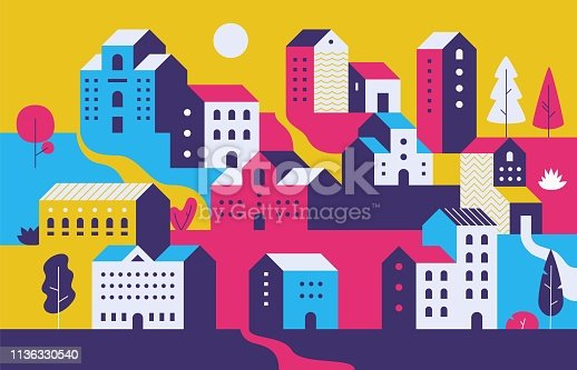 Minimal cityscape. Flat town houses with eco nature environment, modern geometric buildings. Vector ecology cityscape background