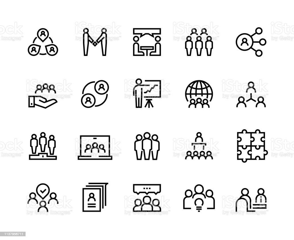 1902.m30.i020.n023.S.c12.560505805 Team work line icons. Business person group work human support teamwork leadership working together. Vector employee set royalty-free 1902m30i020n023sc12560505805 team work line icons business person group work human support teamwork leadership working together vector employee set stock illustration - download image now