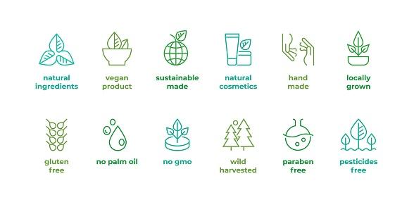 1902.m30.i020.n040.S.c12.1297350109 Eco line badge. Handmade eco logos, natural organic cosmetics vegan food symbols, Vector linear gluten free, no gmo emblems
