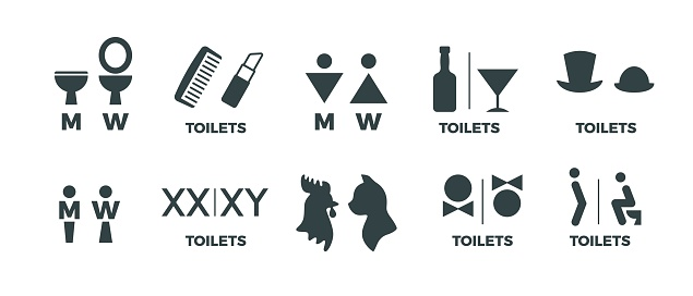 1902.m30.i020.n042.P.c25.1142122850 Toilet signs. Funny WC man and woman direction icons, restaurant cafe cinema restroom door signs. Vector toilet symbols