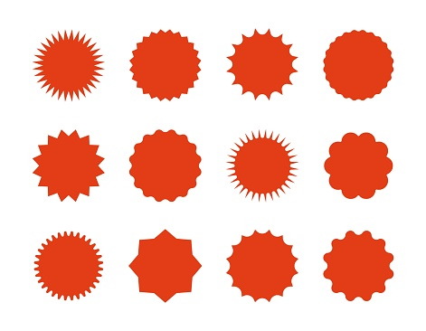 1902.m30.i020.n045.S.c12.792307972 Starburst price stickers. Star sale banners, red explosion signs, sunburst speech bubbles. Vector red silhouettes on white backgrounds