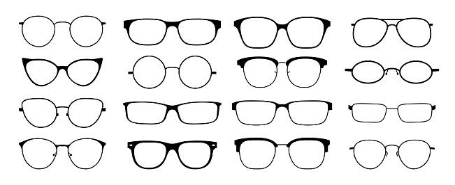 Glasses silhouette. Sun glasses hipster frame set, fashion black plastic rims, round geek style retro nerd glasses. Vector sun glasses set