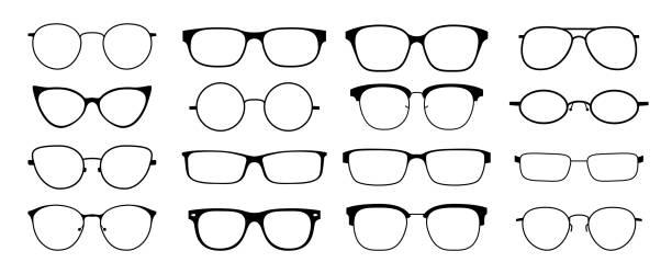1902.m30.i020.n046.p.c25.533983342 gläser silhouette. sonnenbrille hipster-frame-set, mode schwarze plastikfelgen, runde geek-stil retro-nerd-gläser. vector sonnenbrille - brille stock-grafiken, -clipart, -cartoons und -symbole
