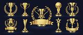 Golden trophy. Realistic champion award, contest winner prizes with laurel shapes, 3d awards banner. Vector golden cup set