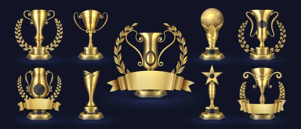1902. m30. i030. n009. p. c 25.493592398 altın ödülleri. gerçekçi kupa kupası, yarışma ödülü 3d tasarım, spor ödül kavramı, kazanmak ve başarı elemanları koleksiyonu. vector bardak 1 - kupa ödül stock illustrations