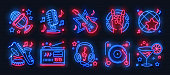 Neon party icons. Dance music karaoke light signs, glowing concert banner, rock bar disco poster. Vector retro night club set