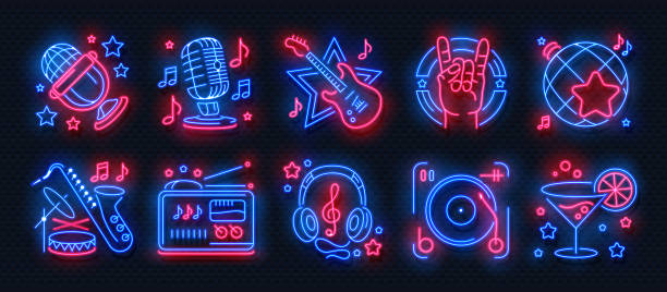 1902.m30.i030.n040.s.c12.795597250 znaki neonowe kasyna. banery jackpota na automatach, nocny billboard w barze pokerowym, ruletka hazardowa. wektor kasyna neon banners_f internetowych - muzyka stock illustrations