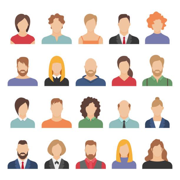 ilustrações, clipart, desenhos animados e ícones de 1902. m30. i120. n007 c 25.1260440011 pessoas avatares de negócios. avatares da equipe de trabalho do escritório profissional jovem masculino feminino cartoon face retrato flat design ícones do vetor - avatar