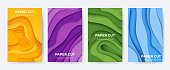 Paper cut posters. Abstract 3D layer background with origami shapes, minimal color paper cutout flyers. Vector liquid colourful technology brochures design