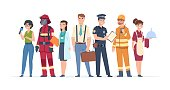 Characters professions. Factory workers business people engineer and doctor community concept. Vector different role man engineering career professionals