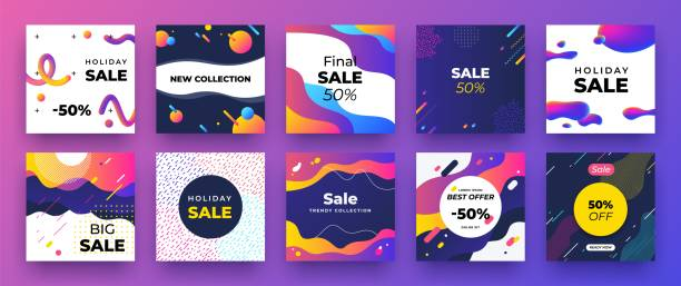 1905.m30.i020.n007.F.c06.742226188 Square social media banner. Fashion sale design, promotion graphic layout template. Vector trendy discount ad mockup vector art illustration