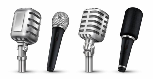 1905.m30.i030.n014.P.c25.1192789120 Realistic microphones. 3D studio and scene audio equipment, vintage and modern metal mics isolated on white. Vector blog recording Realistic microphones. 3D studio and scene audio equipment, vintage and modern metal mics isolated on white. Vector design blog recording metal objects microphone stock illustrations