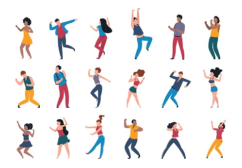 1906.m30.i010.n024.P.c25.1056463943 Dancing people. Trendy party cartoon crowd, modern young dancing characters, friends couples and happy persons. Vector club party