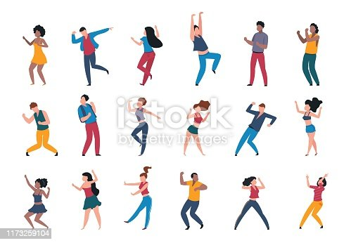 istock 1906.m30.i010.n024.P.c25.1056463943 Dancing people. Trendy party cartoon crowd, modern young dancing characters, friends couples and happy persons. Vector club party 1173259104