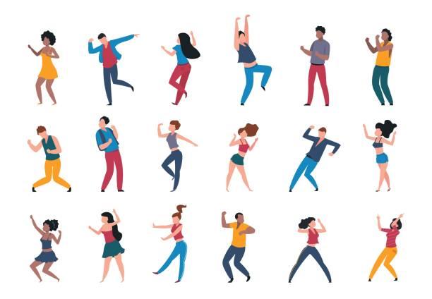 ilustrações, clipart, desenhos animados e ícones de 1906. m30. i010. n024. p. c 25.1056463943 pessoas dançando. multidão na moda dos desenhos animados do partido, caráteres novos modernos da dança, pares dos amigos e pessoas felizes. partido do clube do vetor - dançar