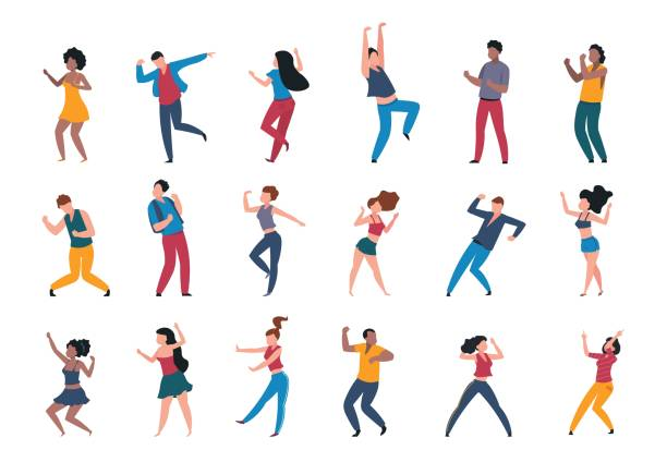 1906.m30.i010.n024.P.c25.1056463943 Dancing people. Trendy party cartoon crowd, modern young dancing characters, friends couples and happy persons. Vector club party vector art illustration