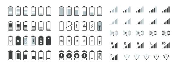 1906.m30.i020.n014.F.c06.1017399868 Battery icons. Black charge level gsm and wifi signal strength, smartphone UI elements set. Vector full low and empty charge status vector art illustration