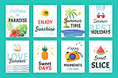 Summer doodle poster. Beach party banners with simple patterns and lettering, vacation sticker elements. Vector hand drawn flat cards holiday collection isolated set