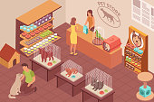 Pet shop isometric background with parrot cat dog and rabbit in cages seller and visitors vector illustration