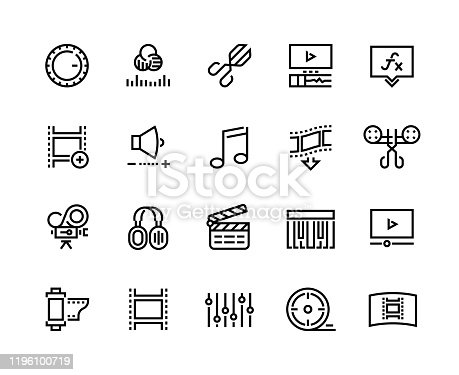 Video production line icons. Editing color grading adding special effects, animation music and movie editing. Vector set designs line images film production