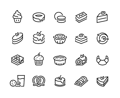 1909.m30.i020.n017.S.c12.759331828 Cakes and cookies line icons. Bakery and sweet food, croissant donuts cupcakes cookies brownies and pies. Vector confectionery set