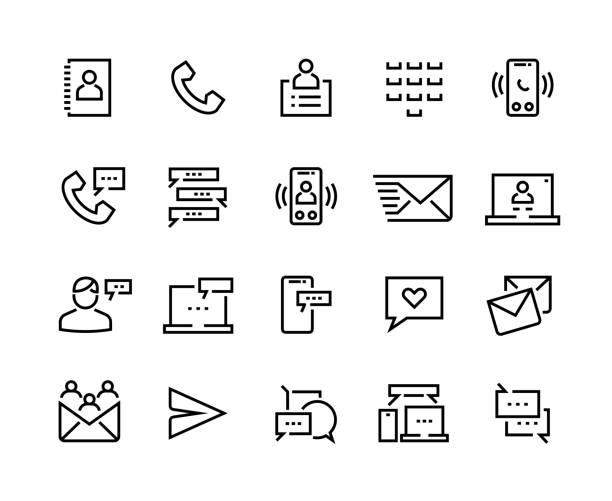 ilustraciones, imágenes clip art, dibujos animados e iconos de stock de 1909.m30.i020.n046.s.c12.1459372550 iconos de línea de contacto. comunicación de redes sociales, mensajes móviles y pictogramas de chat en internet. juego de conversación y chat vectorial - social media