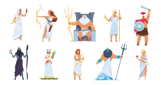 1910.m30.i010.n010.S.c12.1390480448 Ancient Greek gods. Cartoon cute legendary characters of ancient mythology, Vector male and female heroes isolated on white Ancient Greek gods. Cartoon cute legendary characters of ancient mythology. Vector male and female heroes mountain Olympus isolated on white set artemis stock illustrations