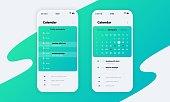 1910.m30.i020.n061.S.c12.1284023503 Calendar app. Phone application UI with calendar concept, schedule and reminder design. Vector smartphone screen