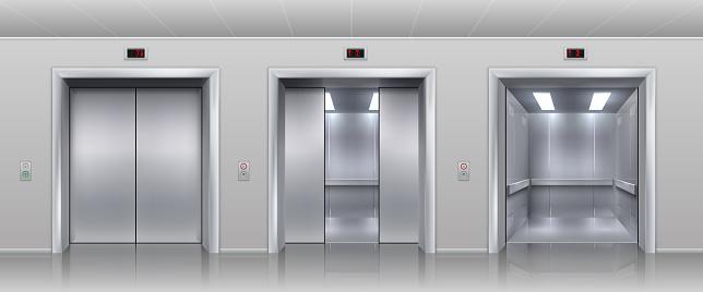 1911.m30.i030.n020.P.c25.1484835944 Realistic elevators. Closed open and half closed metallic cabin doors of passenger and cargo lift or indicator. Vector interior with metal doors