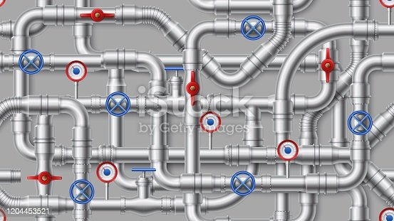 istock 1912.m10.i003.n026.P.c30.1505353730 Metal pipeline. Steel pipes, pipe connectors and industrial valves vector illustration set 1204453521