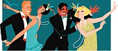 People dressed in 1920s fashion dancing, vector illustration, no transparencies, EPS 8
