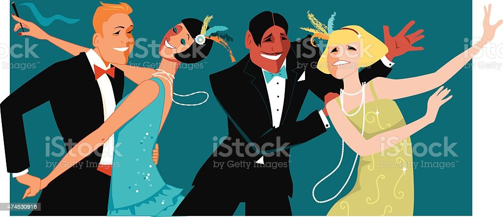 1920s party vector art illustration